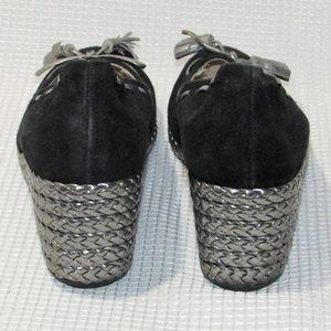 Ralph Lauren Shoes - Ralph Lauren Black Suede Cambree Metallic Wedges